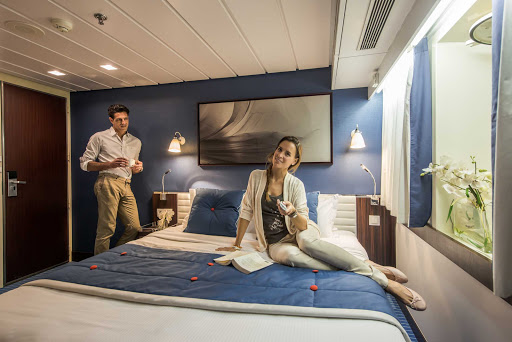 Relax in style and comfort in one of the 32 staterooms on the luxury yacht Le Ponant.