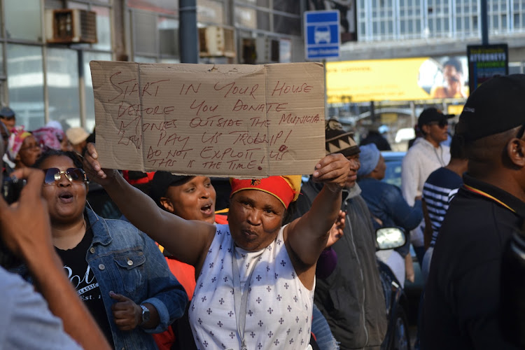 Port Elizabeth municipal workers on strike in June demanding back pay.