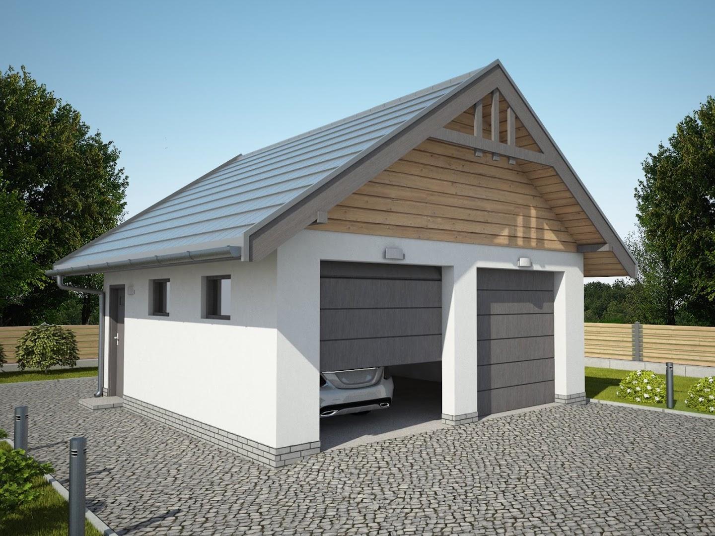 Projekt Garażu G330a Szkielet Drewniany Garaż Dwustanowiskowy Tdr