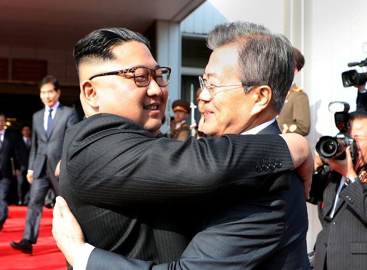 South Korean President Moon Jae-in bids farewell to North Korean leader Kim Jong-un after their summit in Panmunjeom truce villiage, just north of the de facto border with South Korea, May 26 2018. Picture: REUTERS