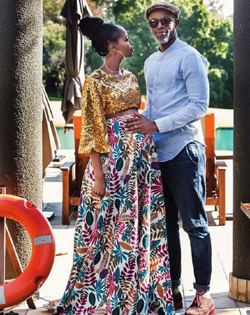 Thapelo Mokoena and his wife Lesego while she was pregnant.