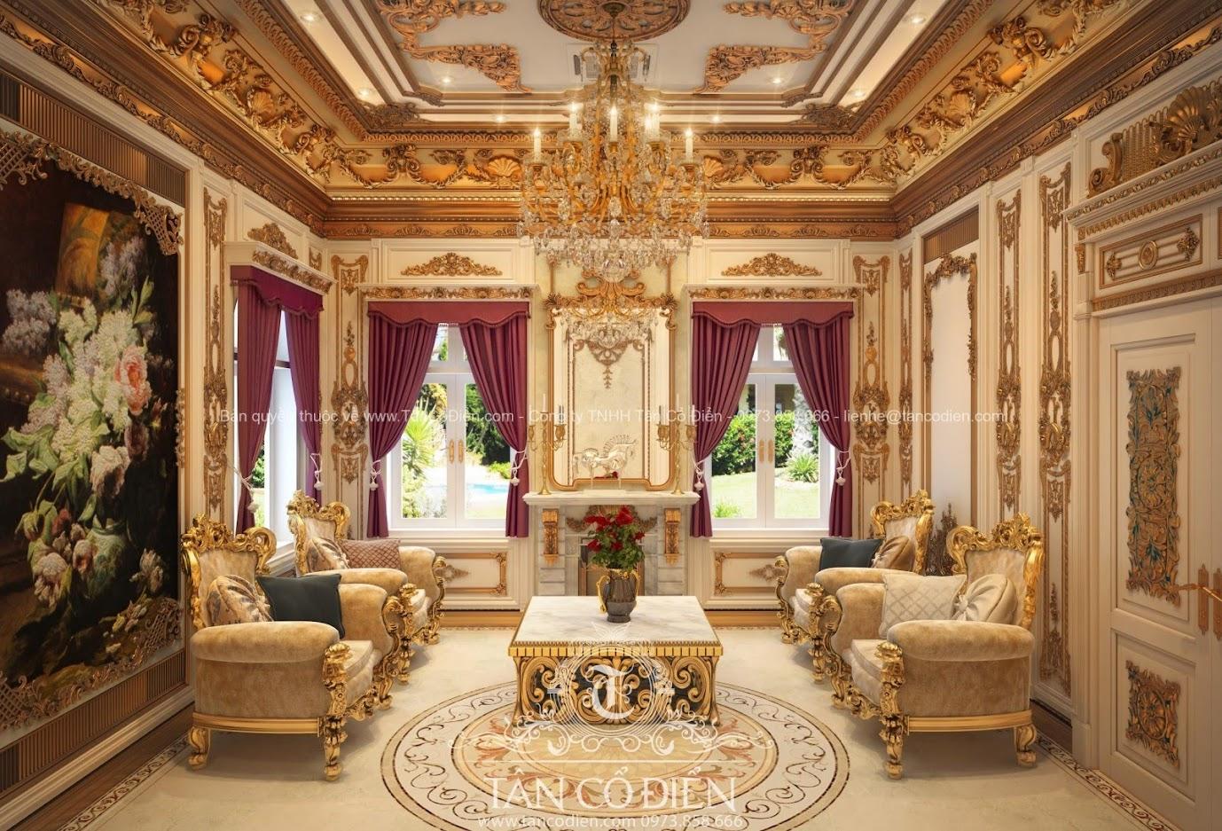 Nội thất phòng khách cổ điển phong cách sang trọng