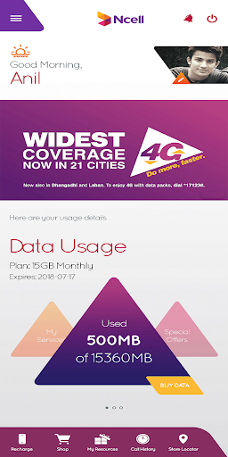 Ncell App - Free SMS, Buy Data Packs, Recharge 3.0.0.1 screenshots 1