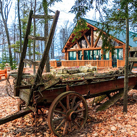 Door County Fall Scene by Kathy Suttles - Artistic Objects Antiques ( wisconsin, rustic, fall scene, antique, old wagon, log hut )