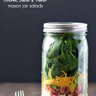 Chicken Bacon and Ranch Mason Jar Salads.