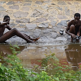 Two boys from Uganda. by Marcel Cintalan - People Street & Candids ( swimming, washing, boys, river, uganda, people )