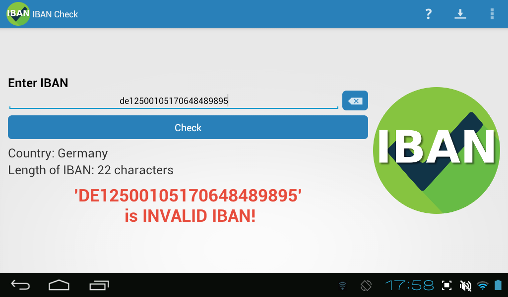IBAN Check- screenshot