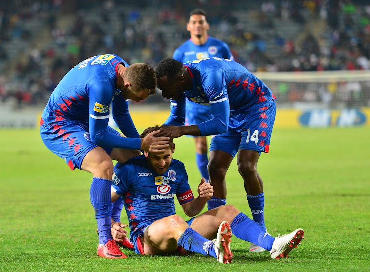 SuperSport United captain Dean Furman celebrates with teammates during the MTN8 quarter final match against Orlando Pirates and at Orlando Stadium, Johannesburg on August 11 2018.
