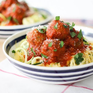 """Vegetarian White Bean """"Meatballs"""" with Low Carb Noodles."""