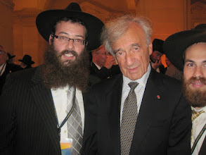 Photo: Rabbi Levi Wolosow and Rabbi Shmaya Galprint With Eli Wiesel
