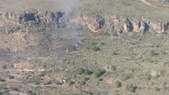 Imagen de la zona del incendio, tomada por el helicóptero del Plan Infoca.