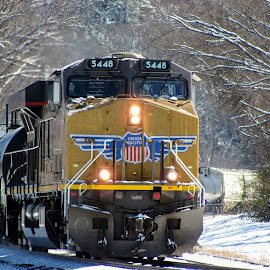 UP 5448 by Rick Covert - Transportation Trains ( railroad, snow, locomotive, arkansas, railroad tracks, winter, arkansas photographer, trains, train )