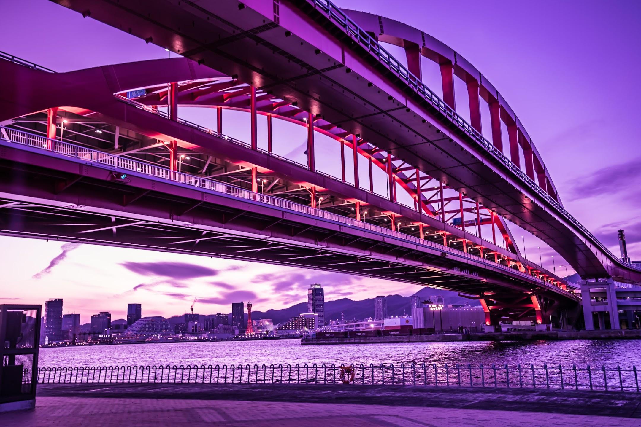 Kobe Great Bridge evening1