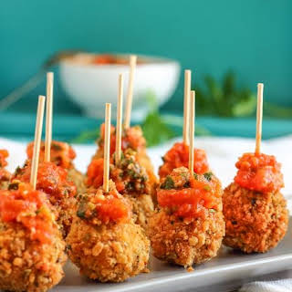 Fried Mozzarella Balls with Homemade Tomato Dip.