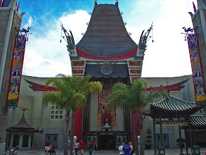 Photo: The Great Movie Ride in Disney's Hollywood Studios is housed inside this replica of Mann's Chinese Theater. The outside is quite iconic, but has become far more difficult to photograph with the giant hat blocking your view from a distance.  This photo was taken with an old point and shoot camera on a beautiful spring day. I've brought the brightness up, enhanced some colors, and brought out the sky a bit more.
