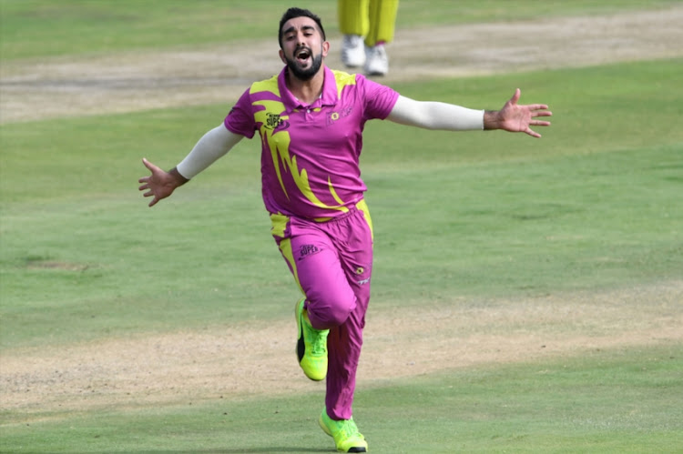 Tabraiz Shamsi of the Paarl Rocks celebrates the wicket of AB de Villiers of the Tshwane Spartans during the Mzansi Super League match between Tshwane Spartans and Paarl Rocks at SuperSport Park on December 05, 2018 in Pretoria, South Africa.