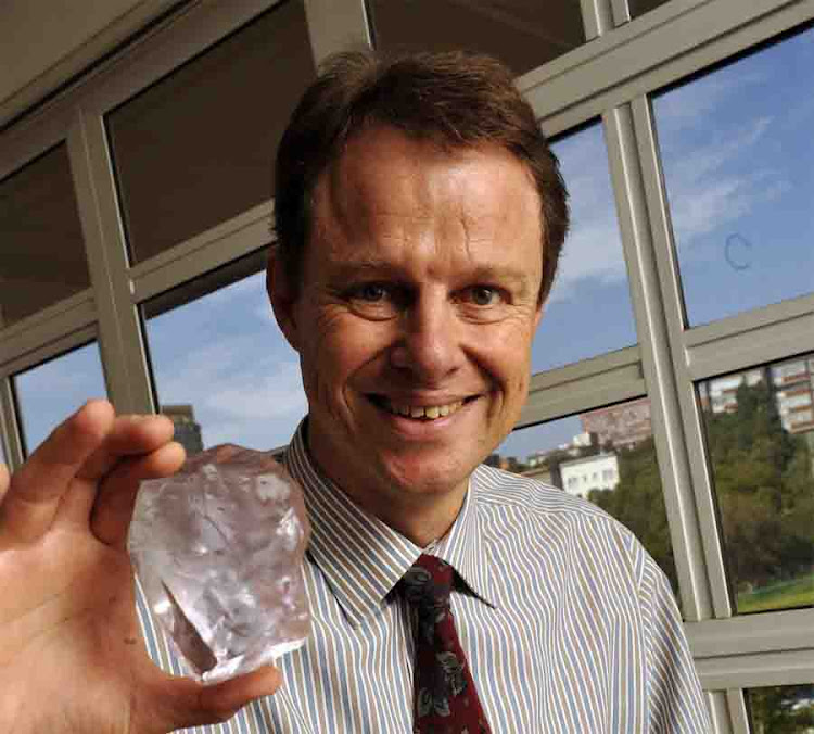 Botswana Diamonds CEO James Campbell holding a diamond from the past. Picture: FINANCIAL MAIL