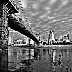 Across the Bridge by Karen Harris - City,  Street & Park  Skylines ( water, skyline, cincy, suspension bridge, ohio river, cityscape, cincinnati, bridge, river )