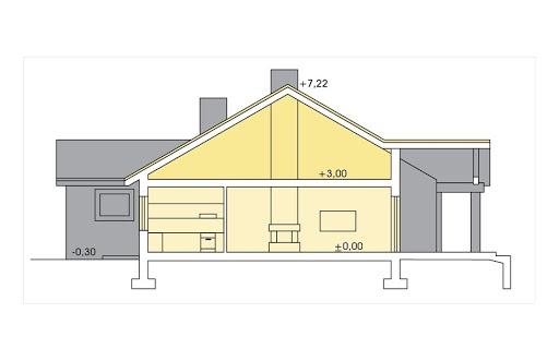 Ambrozja wersja A parterowa z pojedynczym garażem - Przekrój