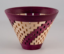"Photo: Bob Grudberg - 6"" x 5"" open-segmented bowl [peach, purple heart]"