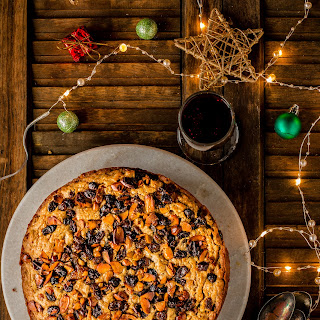 Eggless Christmas Rum Fruit Cake.