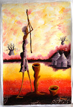 Photo: 19. Canvas painting depicting a woman working crushing the grain. Baobab trees in the background [NOT part of the lottery]