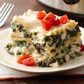 Slow-Cooker Spinach Alfredo Lasagna.
