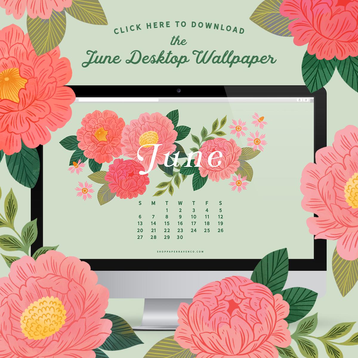 June 2021 Illustrated Desktop Wallpaper by Paper Raven Co. #dressyourtech #desktopwallpaper #desktopdownload