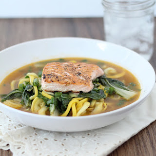 Garlic Ginger Zucchini Noodle Bowl with Salmon and Bok Choy.