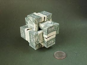 Photo: Model: 6-Dollar Burr Puzzle;  Creator: Robert J. Lang;  Folder: William Sattler;  6 dollars total;  Publication: PCOC Play (OrigamiUSA) http://www.origami-usa.org/