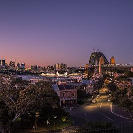 Twinkling Sydney by Saurabh Tamhankar - City,  Street & Park  Skylines ( sydney, sunset, evening, landscape, lights, canon )