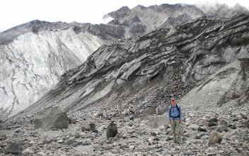 Photo: Dirty ice of Crater Glacier - This is about as close as we could get due to the danger of falling rocks.