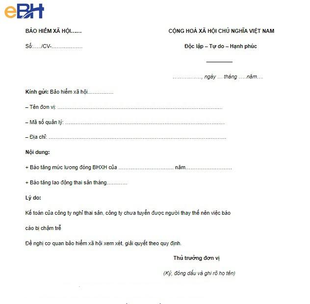 Mẫu công văn giải trình nộp chậm BHXH