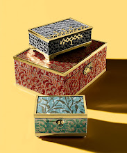 """Photo: L'OBJET POUR FORTUNY Exclusively ours. A collection of Fortuny fabric and brass boxes with suede lining. Black """"Rabat"""" box, 2.5″ high x 8″ wide x 5″ deep. $775. Red """"Granada"""" box, 5.5″ high x 12″ wide x 8″ deep. $1,200. Teal """"Orfeo- Farnese"""" box, 3.5″ high x 6″ wide x 4″ deep. $350. Imported. Seventh Floor. 212 872 2686"""