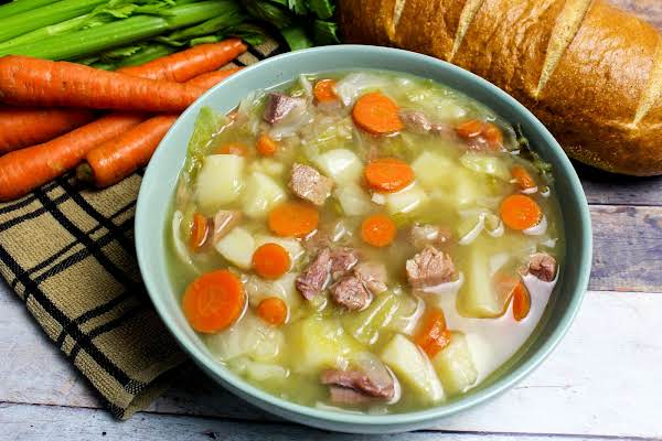 A Bowl Of Ham And Cabbage Soup.