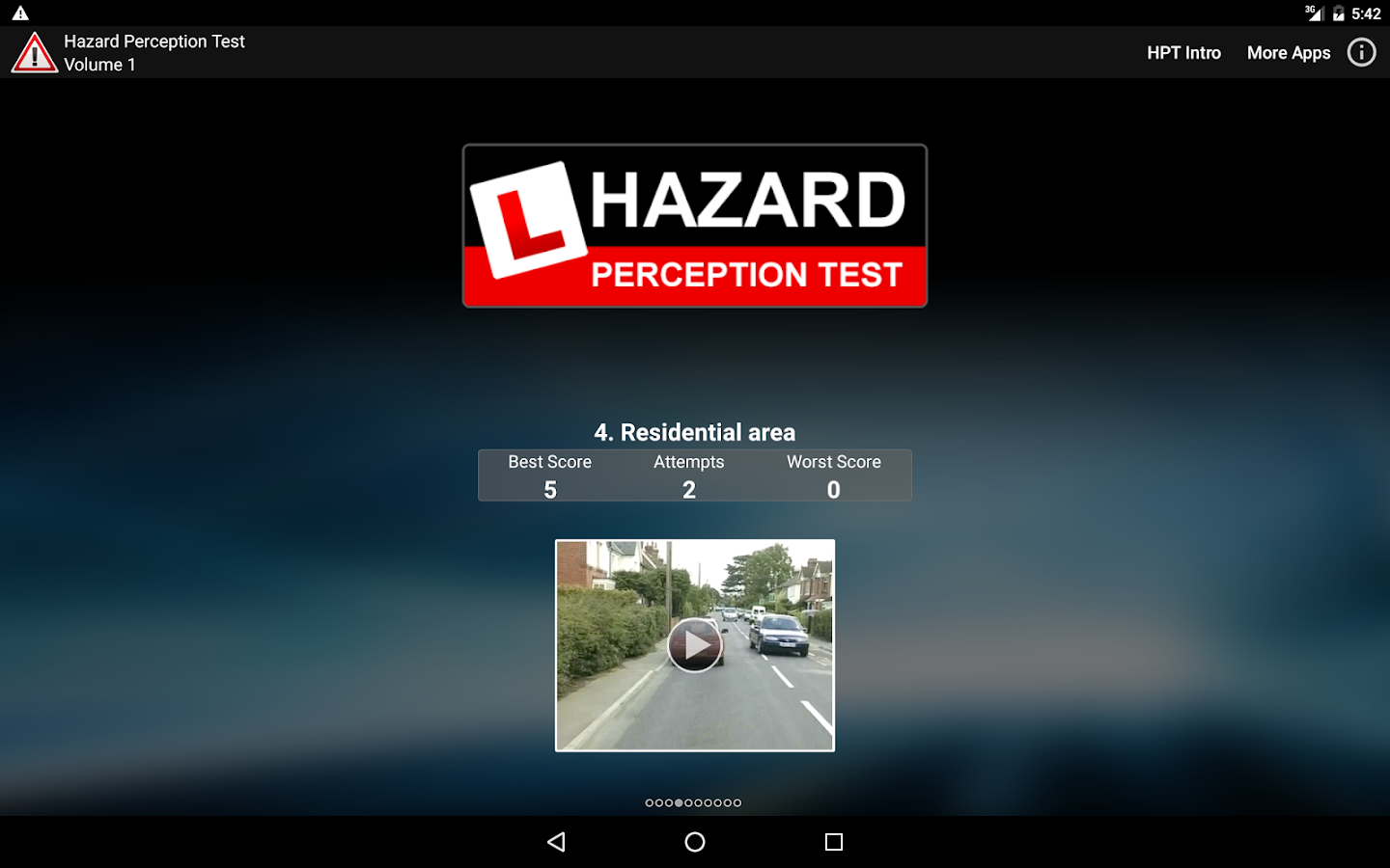Hazard Perception Test 1 (HPT)- screenshot