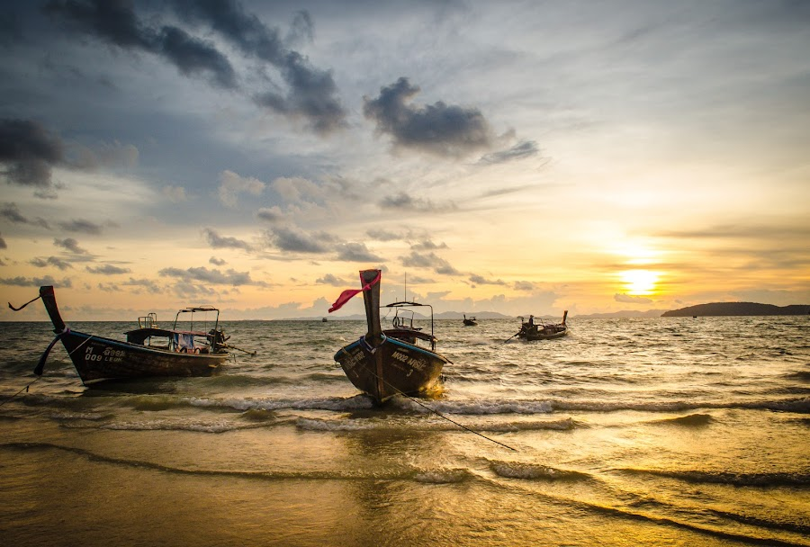Beautiful Sunset at Railay Beach !! by Prathap Gangireddy - Transportation Boats ( colorful, beautiful, boats, beauty, beach, travel, boat, sun, boating, beaches, sky, traveling, nature, travelling, sunset, sunsets, travel photography, travel locations )