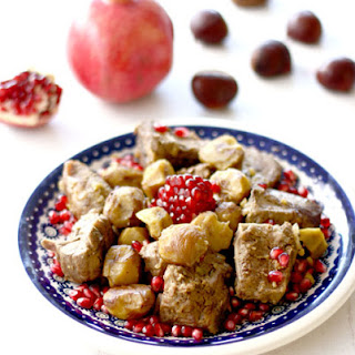 Braised Lamb with Pomegranates and Chestnuts.