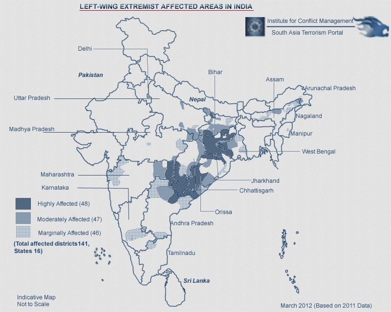Map of India depicting areas in which Naxals are prominent, with darker areas denoting a higher Naxal presence. Source - Indian Defence Analysis