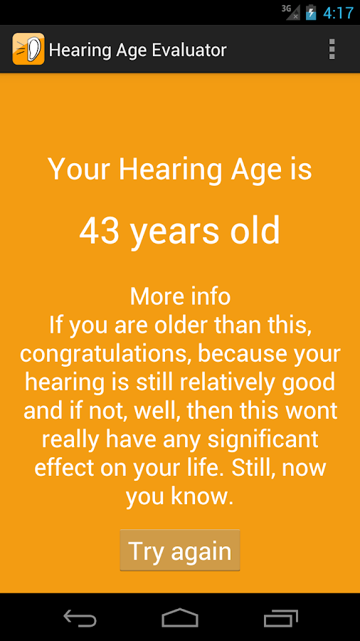 Hearing Age Evaluator- screenshot