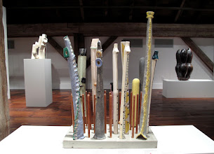 "Photo: Ceramic flutes by Susan Rawcliffe. Exhibition of ceramic musical instruments at The Bascom Arts Center in Highlands, NC. The exhibit, curated by Barry Hall and Brian Ransom, features musical instruments created by ceramic artists from around the world, as featured in the book ""From Mud to Music"" by Barry Hall."