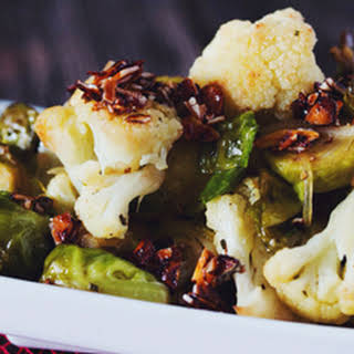 Roasted Brussels Sprouts & Cauliflower with Smokey Almond Bits.