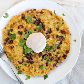 Potato Pancake with mozzarella and onion.