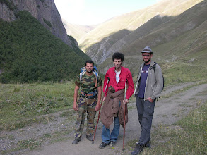Photo: Our guide for the day, well-prepared Roland, as well as our Tbilisi friend Lasha and Mick.