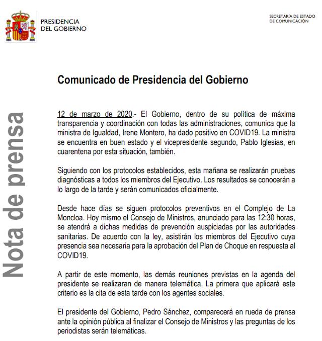 Nota publicada por el Gobierno de España.