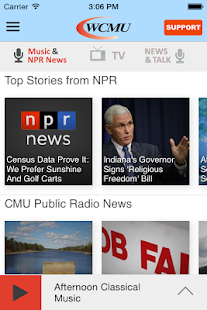 WCMU Public Radio App- screenshot thumbnail
