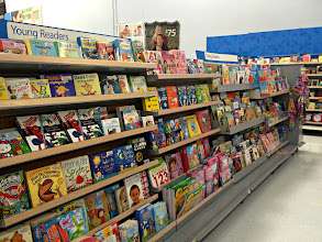 Photo: This is the entire section for younger children.  Considering that this is Walmart I'm not thrilled with the selection.  I guess I thought it would be bigger. A big portion is board books and then another big portion is coloring books.  In the end it's just a small section for preschool-2nd grade. My local Targets have much larger sections for kids.