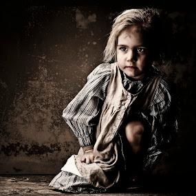 Loneliness by Jan Kraft - Babies & Children Child Portraits ( girl vintage portrait lightshaping feelings face hair eyes dress )