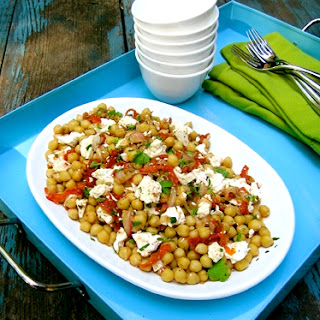 Chickpea Salad With Sundried Tomatoes, Feta And A Fistful Of Herbs
