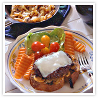 Open Face Mushroom-Onion Burgers